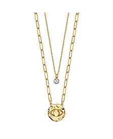 Gold Flash Plated Evil Eye Disk Layered Pendant Necklace with Cubic Zirconia Pendant
