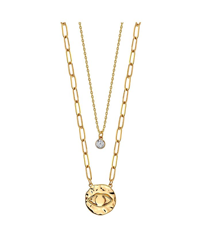 Unwritten - Gold Flash Plated Evil Eye Disk Layered Pendant Necklace with Cubic Zirconia Pendant