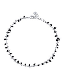 Black Bead Link Chain Anklet in Fine Silver Plate