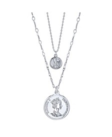 Fine Silver Plated Queen Elizabeth Coin Duo Necklace with Mini Bird Coin Pendant