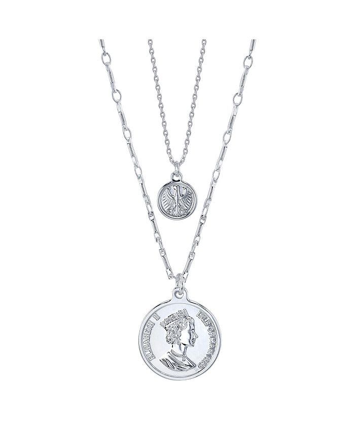 Unwritten - Fine Silver Plated Queen Elizabeth Coin Duo Necklace with Mini Bird Coin Pendant