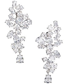 Rhodium Plated Floral Drop Clip On Earring