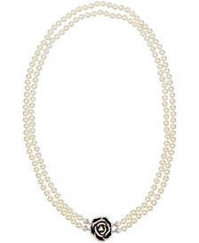Rhodium Plated Dual Strand Long Necklace