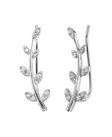 Silver Plated Gold Curved Branch Drop Earring with CZ Leaves