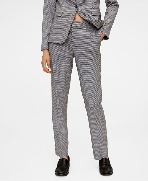 MANGO Hounds tooth Print Straight Trousers