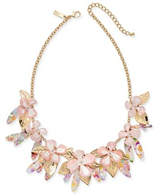 "INC Gold-Tone Flower & Shaky Drop Statement Necklace, 18"" + 3"" extender, Created for Macy's"