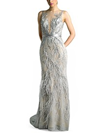 Embellished Feather Gown