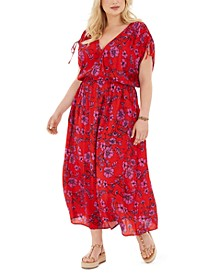 Trendy Plus Size Floral-Print Tie-Sleeve Maxi Dress