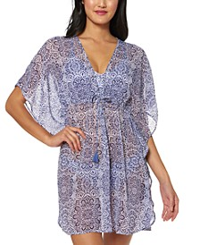 Printed Sheer Swim Cover-Up Dress