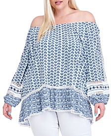 Plus Size Abstract-Print Off-The-Shoulder Top