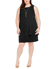 Plus Size Asymmetrical-Overlay Necklace Dress, Created for Macy's