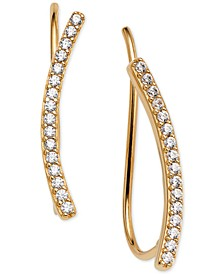 18k Gold-Plated Cubic Zirconia Curved Bar Ear Climbers