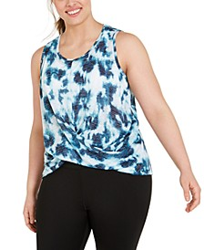 Plus Size Tie-Dye Twist-Front Top, Created for Macy's