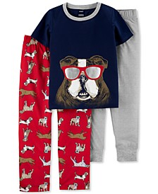 Little & Big Boys 3-Pc. Bulldog Pajamas Set