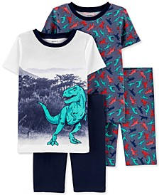 Little & Big Boys 4-Pc. Cotton T-Rex Pajamas