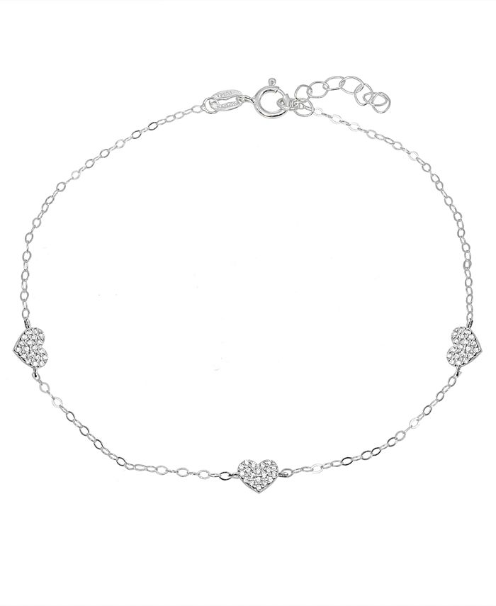 Giani Bernini - Cubic Zirconia Pavé 3 Heart Station Ankle Bracelet in Sterling Silver or 18K Gold-Plated Sterling