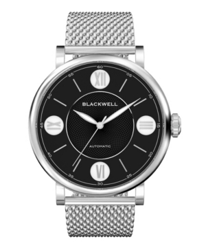 Black Dial with Silver Tone Steel and Silver Tone Steel Mesh Watch 44 mm