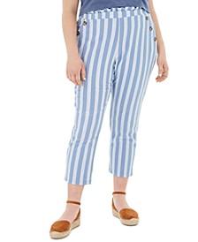 Trendy Plus Size Paperbag-Waist Ankle Pants
