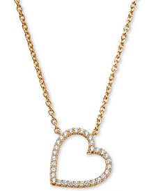 "Cubic Zirconia Heart Pendant Necklace, 16"" + 1"""