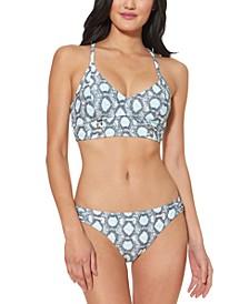 Snake-Print Bralette Bikini Top & Snake-Print Hipster Bikini Bottoms