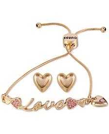 Gold-Tone Pavé Love Slider Bracelet & Heart Stud Earrings Set