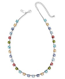 "INC Silver-Tone Multicolor Crystal Collar Necklace, 17"" + 3"" extender, Created for Macy's"