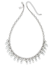 "INC Silver-Tone Crystal & Shaky Bead Statement Necklace, 18"" + 3"" extender, Created for Macy's"