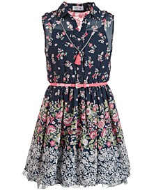 Big Girls Paisley & Floral-Border Shirtwaist Dress