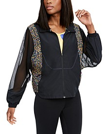 Women's Icon Clash Sheer-Sleeve Packable Running Jacket