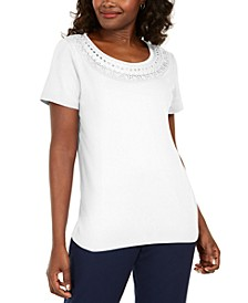 Petite Crochet Scoop-Neck Top, Created for Macy's