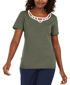 Karen Scott Plus Size Cotton Caged-Neck Top, Created for Macy's