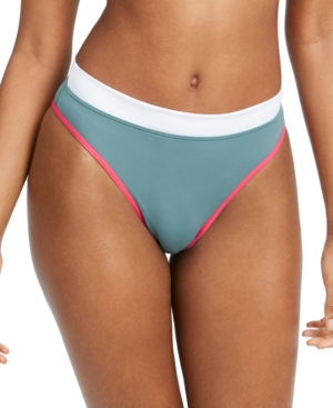 Roxy JUNIORS' SWIM IN LOVE COLORBLOCKED HIGH-CUT BIKINI BOTTOMS WOMEN'S SWIMSUIT