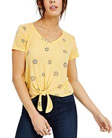Juniors' Tie-Front Sun-Print T-Shirt