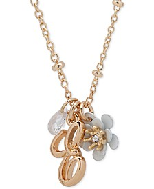 "Gold-Tone Flower & Initial Pendant Necklace, 16"" + 3"" extender"