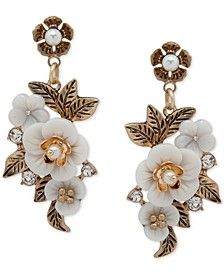 Gold-Tone Pavé & Imitation Pearl Flower Drop Earrings