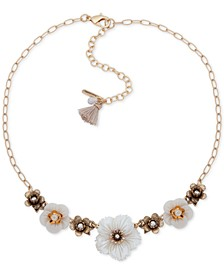 "Gold-Tone Crystal & Imitation Pearl Flower Collar Necklace, 16"" + 3"" extender"