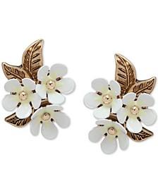 Gold-Tone White Flower Cluster Stud Earrings