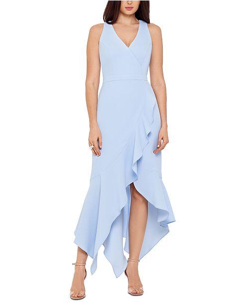 XSCAPE Handkerchief-Hem Ruffled Gown