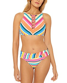 Striped Lace-Up High-Neck Underwire Bikini Top & Hipster Bottoms