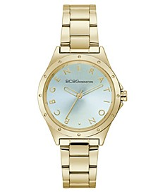 Ladies 3 Hands Gold-Tone Stainless Steel Bracelet Watch, 34 mm Case