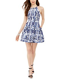 Petite Printed Halter Dress
