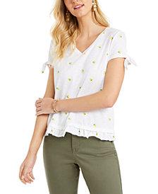 Style & Co Lemon-Print Ruffled-Hem Top, Created for Macy's