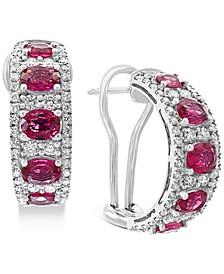 EFFY® Certified Ruby (3-1/2 ct. t.w.) & Diamond (1-1/4 ct. t.w.) Hoop Earrings in 14k White Gold
