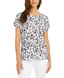 Linen Floral-Print Boat-Neck Top, Created for Macy's
