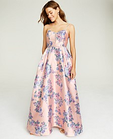 Juniors' Mesh-Trim Floral-Print Gown