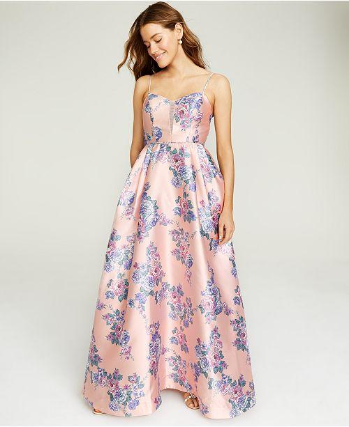 Teeze Me Juniors' Mesh-Trim Floral-Print Gown