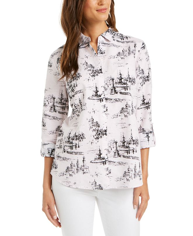 Charter Club Printed Blouse, Created for Macy's