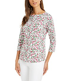 Cotton Floral-Print Boat-Neck Top, Created for Macy's