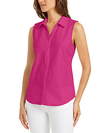 Charter Club Cotton Pique Sleeveless Shirt, Created for Macy's