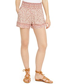 Juniors' Border-Print Smocked-Waist Shorts